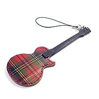 JAJABOON ギター 携帯 ストラップ 型 ピックケース レスポール タイプ ROYAL タータンチェック ( ギター ピック 付) 本革 製