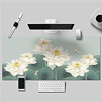 優雅 花 シンプル 多機能 防水 レザーマウスパッド 大型 キーボード ゲーミング オフィスコンピュータテーブルマット(900 x 450 x 2 mm,1)