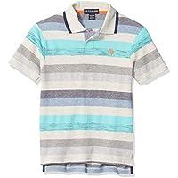 U.S. POLO ASSN. Boys 6337 Short Sleeve Heather Stripe Polo Shirt Short Sleeve Polo Shirt