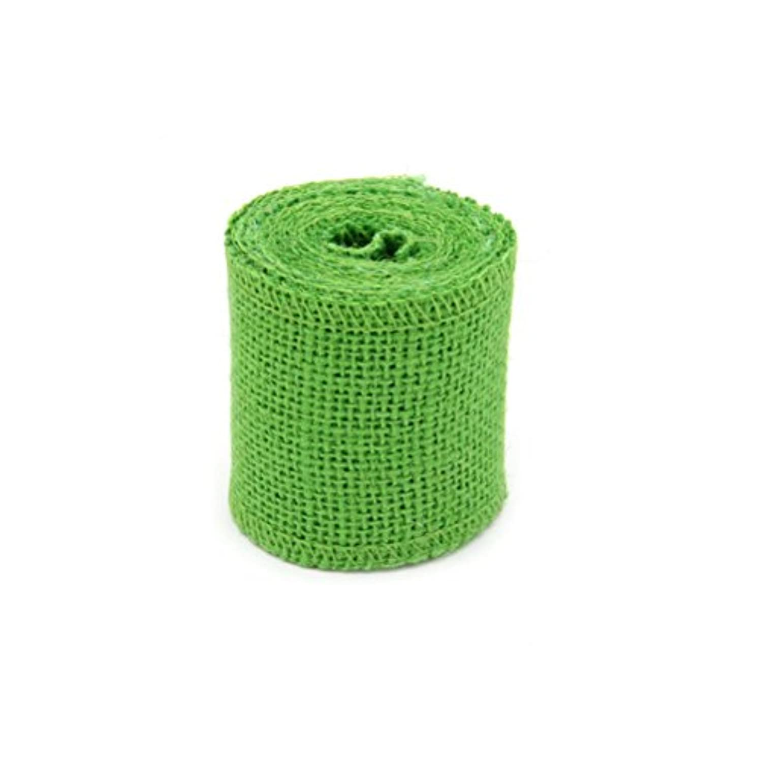 Toyvian クリスマスデコレーションのための2M Jute Burlapリボンロール(グリーン)