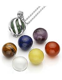 Top Plaza 7 Chakra Crystal Balls Healing Stones Locket Pendant Reiki Yoga Meditation Necklace - Twisted Ball