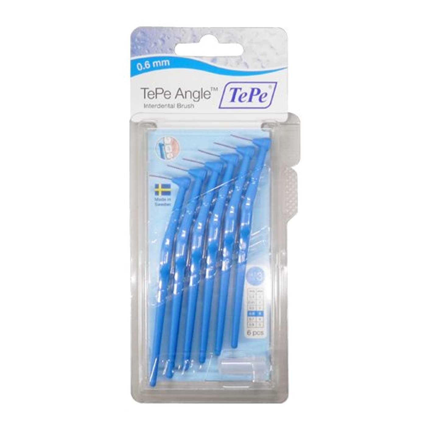 晩餐赤対立テペ(TePe) アングル歯間ブラシ 6本入×2個セット ブルー(0.6mm)