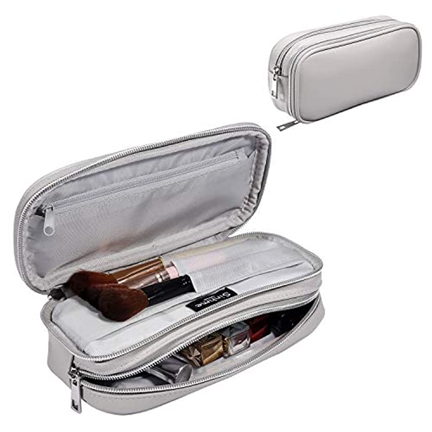 降下追い越す関係ない化粧道具や化粧品をすばやく整理するための女性用の二層旅行化粧品バッグ多機能小型化粧品バッグ (gray)