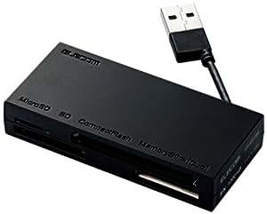 ELECOM カードリーダライタ USB2.0対応 ケーブル収納 SD+MS+CF対応 ブラック MR-K010BK