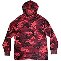 Polo Ralph Lauren Mens Hooded Waffle Knit T-Shirts (X-Large, Red Camo/Half Zip)