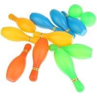 Perfk 12点入り 子供用 ボウリングセット 幼児教育 おもちゃ 練習用 スポーツゲーム 屋内 10ピン+2ボール