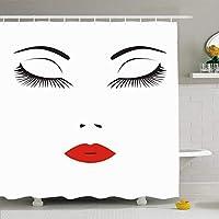 シャワーカーテンセットフック付き66x72サロンアイ若い抽象顔化粧品鼻女性長いまつげ人々唇唇美容ファッション付き防水ポリエステル生地バスルーム用バスルーム装飾 200X180 CM