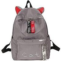 School Backpack Teens Women Backpack Schoolbag for Girls Teenage School Bags Cute Cat Ears Nylon Printing Back Pack Female Book Bag (Color : Grey, Size : -)