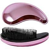女の子および女性毛の櫛またはブラシのプラスチック毛の櫛の小さい毛のための毛の櫛角のティーザーのブラシ モデリングツール (Color : ピンク)
