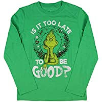 Seven Times Six The Grinch Boys' is It Too Late to Be Good Long Sleeve T-Shirt