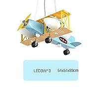 Lying 飛行機のシャンデリア、男の子のベッドルーム装飾的なランプ子供の部屋ハンギングライトランプアクセサリー独創性漫画レトロE14調整可能なサスペンション 見つける ( サイズ さいず : 54*54*93CM )