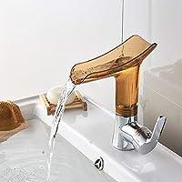V3の浴室の蛇口 蛇口卸売高標準銅蛇口シングルホールホットとコールド浴室洗面台シンクシンク蛇口滝盆地 (色 : Brown)
