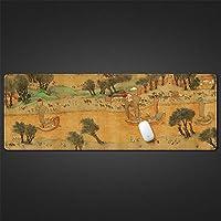 LL-COEUR 古代の絵 書道 インク塗装 大型マウスパッド キーボード ゲーミング オフィス テーブルマット が良い 滑り止めゴム底(18)