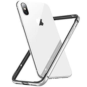 CASEKOO iPhone XS/iPhone X バンパー軽量 薄型 アルミ+シリコン レンズ保護 アイフォン XS ケース 衝撃吸収 脱着簡単 ストラップホール付き シルバー [Metal Series]