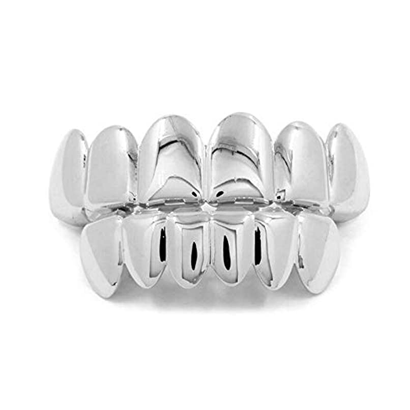 悲鳴干渉軌道ヨーロッパ系アメリカ人INS最もホットなヒップホップの歯キャップ、ゴールド&ブラック&シルバー歯ブレースゴールドプレート口の歯 (Color : Silver)
