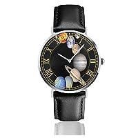 腕時計太陽系の惑星。メンズ腕時計ファッションカジュアルビジネススポーツ高品質多機能クロノグラフレザーウォッチレザーストラップ防水クォーツウォッチ