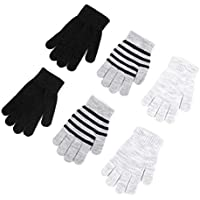 accsa Toddler Kid Boy Girl Winter Neon Stripe Touch Screen Magic Glove 3pc Set