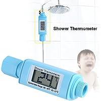 シャワーヘッド水温計 リアルタイムモニター LEDデジタル表示 浴室温度計 自立発電式 超便利 やけど防止 防水 浴室 家庭 ホテル用 (ブルー)