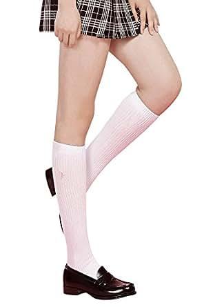 スクール刺繍ハイソックス(長さ35cm) 白×ピンク 日本製 22-24cm 靴下 通学 ひざ下