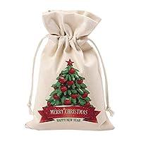 ユニークなデザインの大きなクリスマスギフトバッグホームパーティーの装飾ヴィンテージ巾着キャンバスディナーテーブルギフトバッグ用品-マルチカラー混合