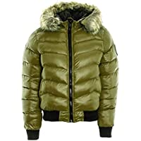 Janisramone Womens Ladies New Fur Hooded Padded Quilted Badge Puffer Shiny Bomber Jacket Warm Winter Coat