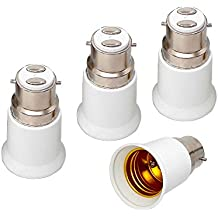 E-Simpo 4-Pack B22 to E27 Adaptor, Bayonet Cap B22 to E27 ES Edison Screw Converter,BC to ES Light Socket Converter, high Quality,CE Rohs