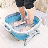 Foldableマッサージのバケツプラスチックフィートの洗面器の鉱泉の浴槽大人の子供のフットボールボールを貯えること容易 (色 : 青)