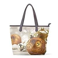 トートバッグ かばん ポリエステル+レザー ホリデークリスマスオーナメント かわいい 両面使える 大容量 通勤通学 メンズ レディース