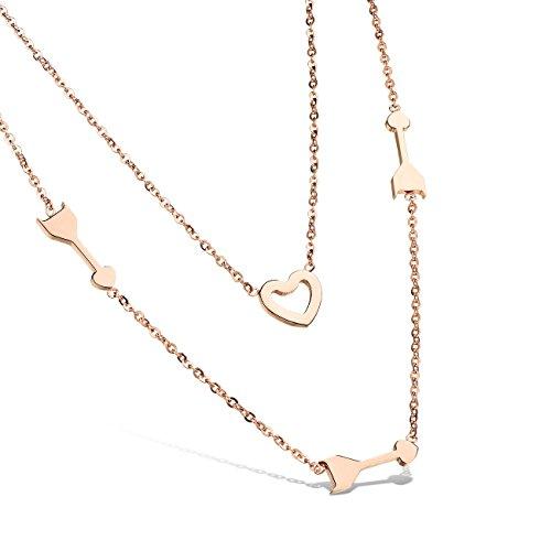 [比翼堂]レディース ネックレス 「 愛 の キューピッド 」 ステンレス ピンクゴールド プレゼント 高級ケース付き