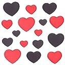 (なないろ館)ハート アイロン ワッペン 16枚セット 入園準備 ハンドメイド かわいい 女の子 キッズ 子供 ベビー アップリケ パッチ 赤 黒