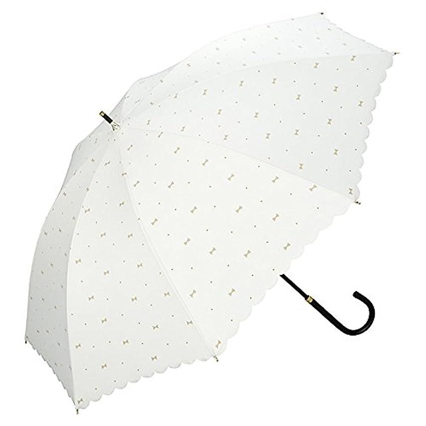 冷蔵するチャペルジェットワールドパーティー(Wpc.) 日傘 長傘  オフホワイト 白  50cm  レディース 遮光ジェムリボン 81-9459 OF