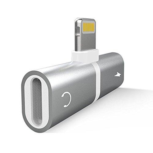 JTLife iphone ライトニング イヤホン変換アダプター 2in1 lightning iPhone イヤホンジャック 二股 アダプタ  音楽急速充電同時 高音質 iphone7/8/x ipad/ipod IOS11