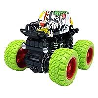 合金 引き戻しロッククローラー車モデル ビッグホイール 子供教育 おもちゃ 全2サイズ - 緑
