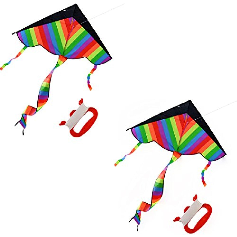 2Pack Kites for Kids, YIFAN Rainbow Kite Beach Kite With long Tail Kites for Park