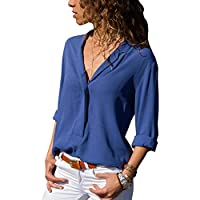 Elonglin Women's Casual Shirt Blouse Long Sleeves Chiffon Shirt Sleeveless T-Shirt V-Neck