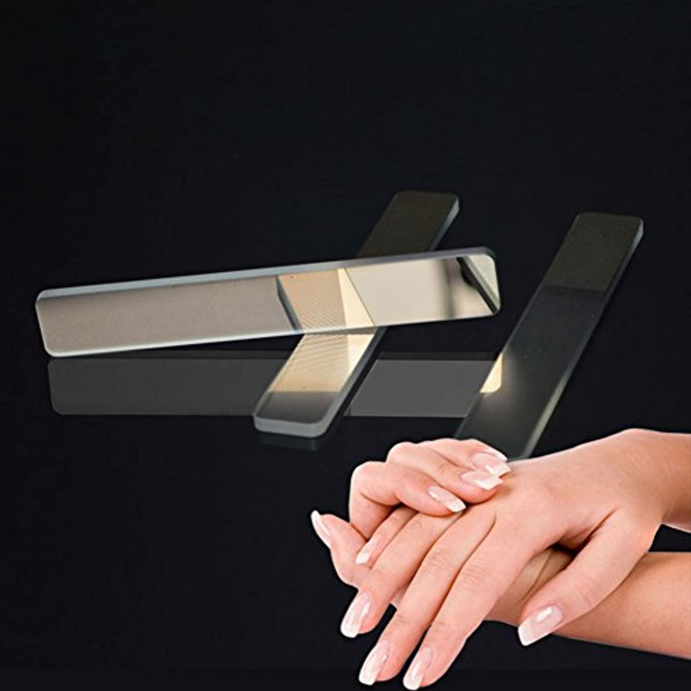 無声でうぬぼれバター爪やすり WUUDI 爪磨き ガラス爪ヤスリ ネイルファイル ネイルシャイナー つめケア ガラス製 ネイルケア 甘皮処理 (白)