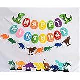 Astra グルメ 恐竜 バナー ハッピーバースデー ガーランド & 恐竜テーマのテーブルデコレーション 誕生日パーティー ベビーシャワーデコレーション 11ピース