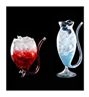 ワイングラス、デカンターレッドワイングラス、クリエイティブバンパイアシェイプ、鉛フリークリスタルガラス素材、宴会場レストランに最適、330ml、6.0 * 11.0cm / 2.3 * 4.3インチ、2サイズ (サイズ さいず : 6.0*11.0cm+5.3*18.8cm)