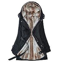 ウィメンズレディース毛皮の襟のフード付きコットンジャケットフード付きジッパーロングスリムコットンジャケット,黒,XXL