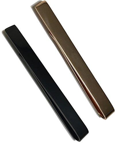 mark zenis ネクタイピン クリップタイプ ブラック & ピンクゴールド 2個セット