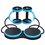 多機能新しいスポーツコアダブルabローラーホイールエクササイズ機器腹部ホイール、ウエストツイストプレートデザイン、腹部フィットネスプルロープ,blue