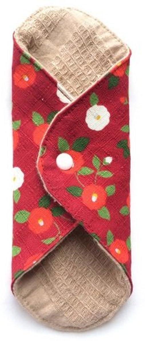 元気な合体放散する華布 オーガニックコットンのあたため布 Mサイズ(約15×約15cm) 華椿(紅)