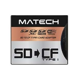 【Amazon.co.jp限定】MATECH WiFiSD/SDXC/SDHC/SDカード から CFカード TypeI 高速 変換 アダプタ アダプター 最大128GB対応 [日本メーカー] (1年保証) SD2CF1AD