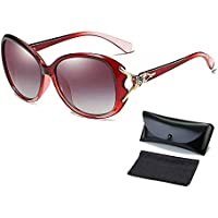 Ladies Womens Designer Polarized Sunglasses Oversized Driving Eyewear UV400 Lens Red Frame Gradient Red Len