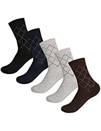 uxcell 靴下 クルーソックス プリントストレッチ ウール メンズ 男性用 5足セット 20-22cm