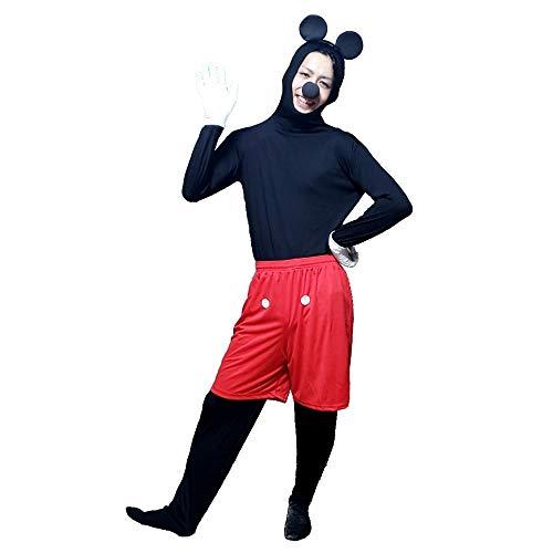 (TUISKU) ハロウィン 仮装 ミッキー 全身タイツ 黒 コスプレ カチューシャ セット 選べるサイズ (L)