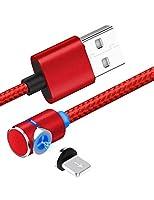 マイクロUSB、i-ProductsおよびUSB Type Cアダプター用の磁気USB充電ケーブルi-Products Androidデバイスと互換性のある3 in 1ナイロン編組LEDインジケーター付きHUAWEI / SAMSUNG,2mRed,lighting