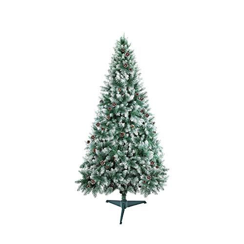 SHareconnn クリスマスツリー 130cm 枝数400本 松かさ付き 雪化粧 北欧 高濃密度 組立簡単 収納便利 クリスマス飾り/プレゼント 緑
