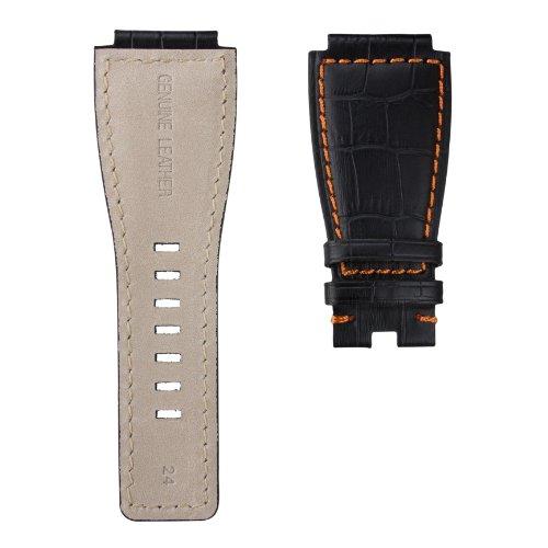 StrapJunkie 本革 カーフレザー Bell & Ross ベル&ロス BR01 BR03 モデル対応 時計替えベルト アリゲーター型押し ステッチ仕上げ 時計バンド ストラップ 24mm ブラック&オレンジ