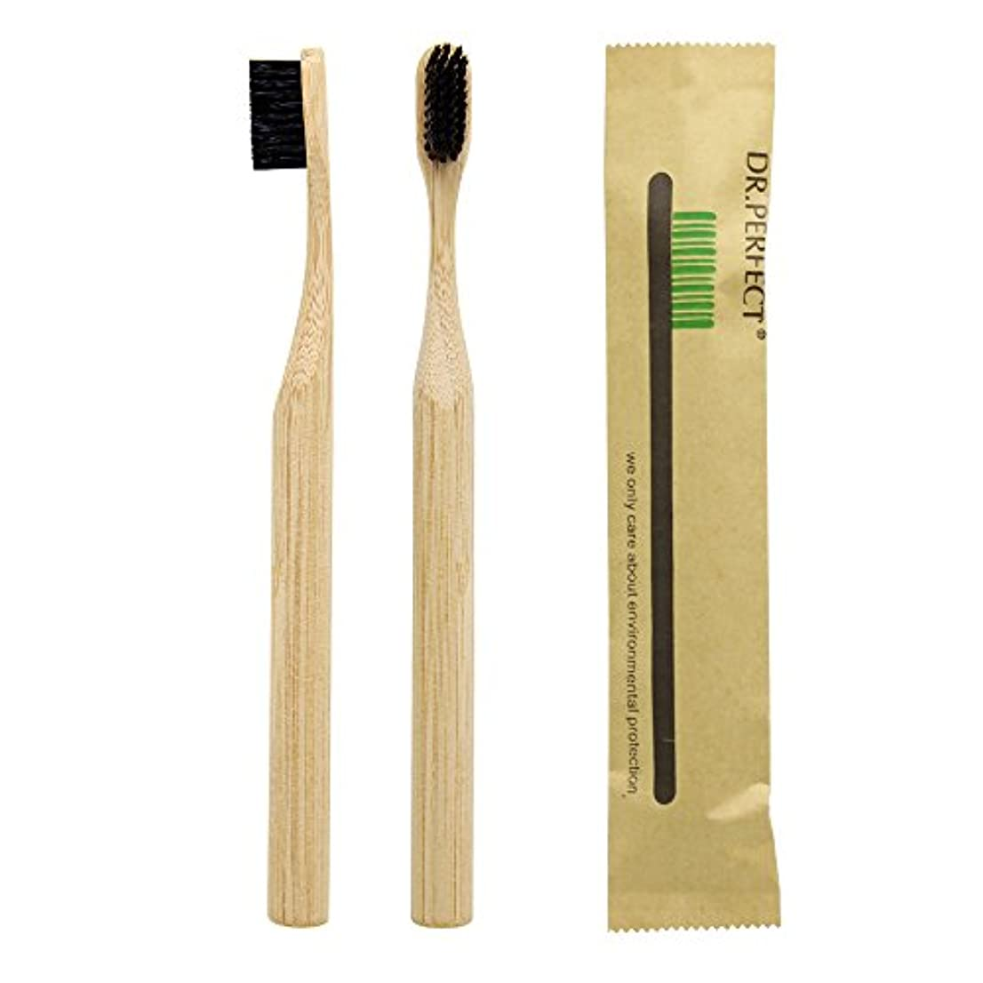 差し控える船悲しいことにDr.Perfect Bamboo Toothbrush アダルト竹の歯ブラシ ナイロン毛 環境にやさしい製品 (ブラック)
